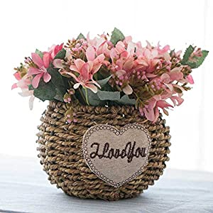 Jhyflower Artificial Flower Decoration Artificial Flowers Living Room Potted Decorations Coffee Table Decoration Flower Table Floral Flower Vine Flower, 3 Powder Pink Narcissus Set 93