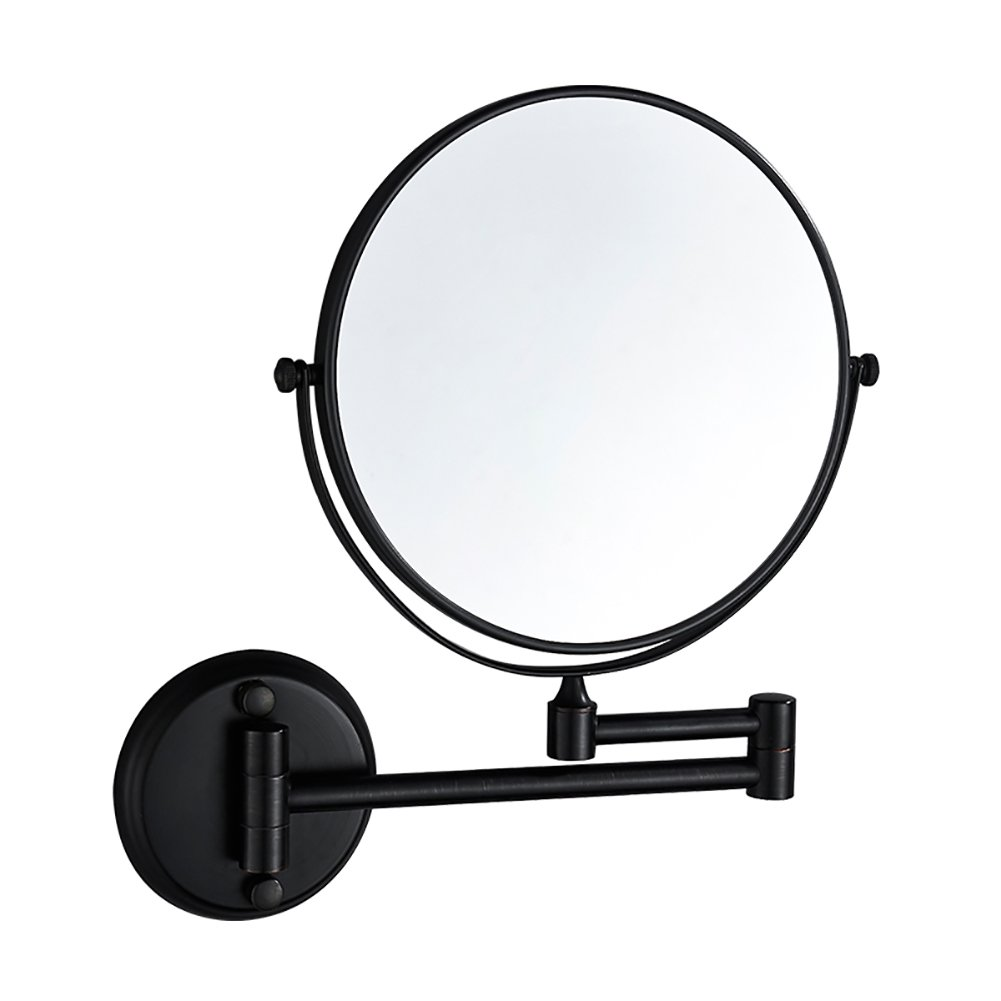 ZfgG 8 Inch Wall Mounted Shaving Mirror,3X Magnification Bathroom Makeup Mirror, Extending Folding Double Side Cosmetic (Color : Black)