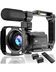 4K Video Camera Camcorder UHD 48MP WiFi IR Night Vision Vlogging Camera for YouTube Touch Screen 16X Digital Zoom Camera Recorder with Microphone, Handheld Stabilizer, Lens Hood, Remote,2 Batteries