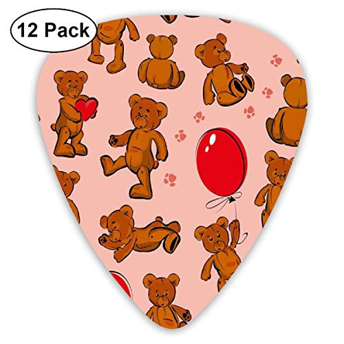 Guitar Picks 12-Pack,Vintage Teddy Bear Pattern Paws Footprint With Balloon And Hearts Party
