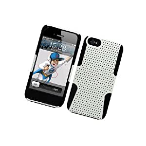 Apple iPhone 5 Black White Mesh Hard Soft Gel Dual Layer Cover Case