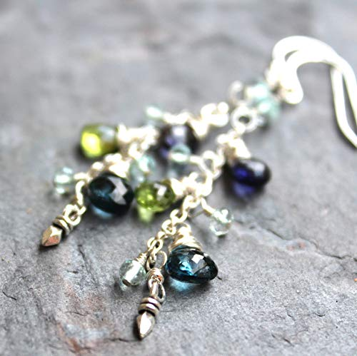 Blue Topaz Multi Gemstone Earrings Peridot Iolite Aqua Sterling Silver Delicate Cascade