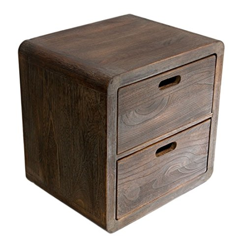 NEG Schubladenschrank VINUJA (dunkelbraun) 3-tlg. Nachttisch/Kommode/Teetisch aus Echtholz (Paulownia)