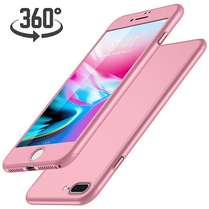 Funda iPhone 7 Plus + Protector de Pantalla de Vidrio Templado, Luckydeer Carcasa iPhone 7 Plus 360 Grados Ultra-Delgado - Oro Rosa (5.5 Pulgadas).