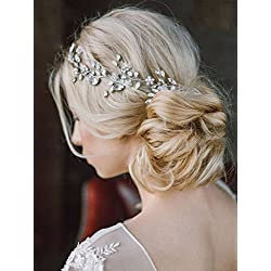 Unicra Wedding Handmade Headpiece Bridal Headband Hair Vine Decorative Hair Accessories for Brides Silver