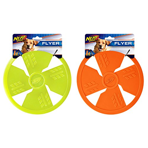 Nerf Dog TPR Flyer, 10-Inch, (2-Pack), Green and Orange