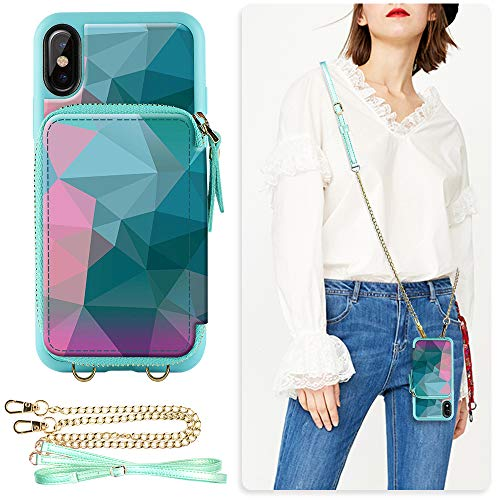 ZVE Case for iPhone Xs Max Case, 6.5 inch, Walllet Case with Credit Card Holder Slot Crossbody Chain Handbag Purse Wrist Zipper Strap Case Cover for Apple iPhone Xs Max 6.5 inch - Diamond ()