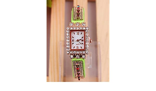 PEISHI J ver chicas ginebra a aliexpress coreano elegante colorido con diamantes Dial reloj de la PU de cuarzo con ms. , red-for lady: Amazon.es: Relojes