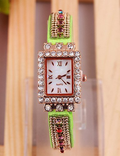 PEISHI J ver chicas ginebra a aliexpress coreano elegante colorido con diamantes Dial reloj de la PU de cuarzo con ms. , red-for lady: Amazon.es: Relojes