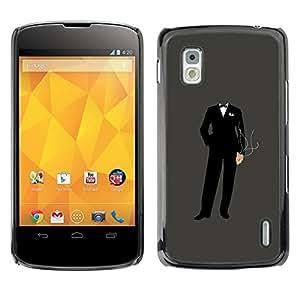 KLONGSHOP // Cubierta de piel con cierre a presión Shell trasero duro de goma Protección Caso - Anonymous Traje - LG Nexus 4 E960 //