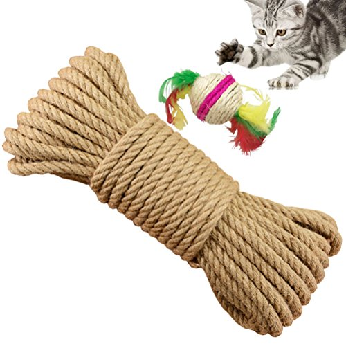 Yangbaga Cat Scratching Post Replacement Hemp Rope for Recovering Cat Climbing Post Tree, Natural Sisal Rope to Repair Scratcher, 6mm Diameter 328 FT by Yangbaga