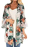 Womens Kimono Cardigan Beach Cover Up Floral Chiffon Loose Capes (White02,3XL)