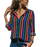 Blibea Womens Casual Loose Fit V Neck Vertical Striped Button Up Chiffon Long Sleeve Blouses and Tops T-Shirt Small Multicolor