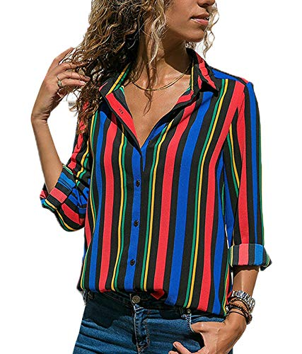 (Blibea Womens Tops 2018 Elegant Long Sleeve Button Down Color Block Stripes Blouse Casual Tops T Shirts Work Large Multicolor)