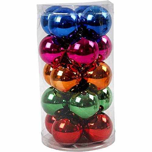 20 Bright Coloured 6cm Shatterproof Christmas Baubles
