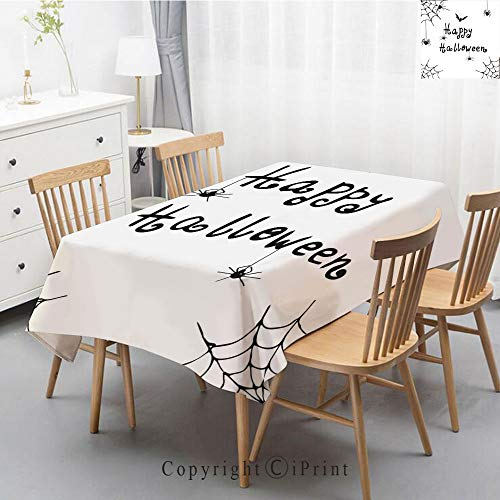 Premium Linen Printed Tablecloth,Ideal for Grand Events and Regular Home Use,Machine Washable,55x79 Inch,Spider Web,Happy Halloween Celebration Monochrome Hand Drawn Style Creepy Doodle -