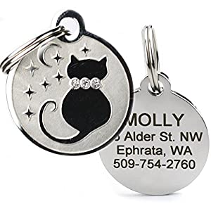 Designer Personalized Cat & Dog ID Tags. Stainless Steel Pet ID Tag, Custom Engraved with 4 Lines of Text – Unique, Stylish, Fun - Bone, Crown, Smiley Cat, Starry Moon Cat, Robo Dog, Bat Dog