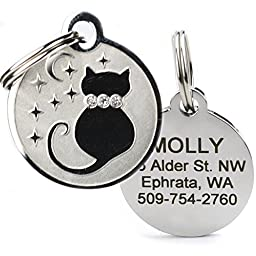 Designer Personalized Cat & Dog ID Tags. Stainless Steel Pet ID Tag, Custom Engraved with 4 Lines of Text – Unique, Stylish, & Fun - Bone, Crown, Smiley Cat, Starry Moon Cat, Robo Dog, & Bat Dog
