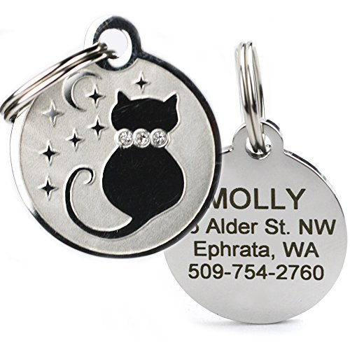Designer Personalized Cat & Dog ID Tags. Stainless Steel Pet ID Tag, Custom Engraved with 4 Lines of Text - Unique, Stylish, Fun - Bone, Crown, Smiley Cat, Starry Moon Cat, Robo Dog, Bat Dog ()