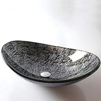 Jiuzhuo Vasque de salle de bain ovale moderne en verre ...
