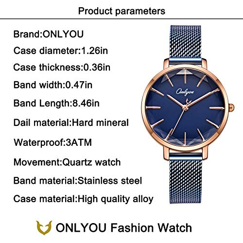 ONLYOU Women's Fashion Watches,Unique Face Design and 30M Waterproof,Analog Quartz Wristwatches with Stainless Steel Mesh Band (Blue) by onlyou (Image #4)'