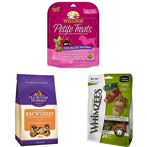 (Build Your Own 3-Bag Bundle Of Small Breed Dog Treats From Wellness, Old Mother Hubbard, And Whimzees (Crunchy Chicken & Cherries Treats, Bac'N'Cheez Biscuits, And Alligator Dental Treats))