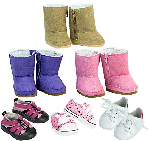 Sophia's 18 Inch Doll Shoes, 6 Pack of Boots and Shoes for Dolls, Doll Accessories