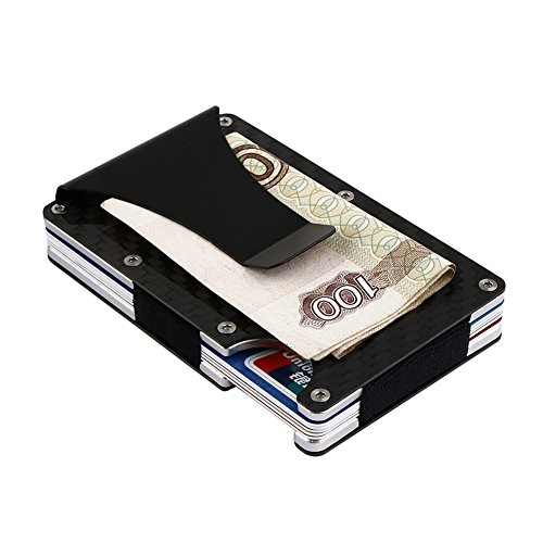 OWIKAR Money Clip, Carbon Fiber Credit Card Holder Slim Minimalist Business Card ID Holder RFID Blocking Front Pocket Wallet Money Clip for Men (Frame Real Carbon Fiber)