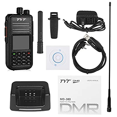 TYT MD-380 DMR Digital Radio, VHF Two Way Radio Walkie Talkie, Transceiver Compatible with Mototrbo, Up to 1000 Channels, with Color LCD Display, Cable and 2 Antenna (High Gain One included): Car Electronics