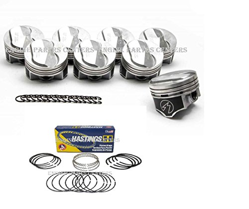 (Speed Pro H693CP Hypereutectic 22cc Dome Pistons+MOLY Rings Kit/Set compatible with Chevy Big Block 7.4 454 +.030