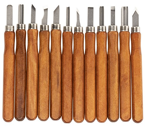 Wood Carving Tools - 12-Pack Carbon Steel Chisel Knives Set for Halloween Pumpkin, Soap, Plastic, Sculpture, DIY Arts and Crafts Supplies]()