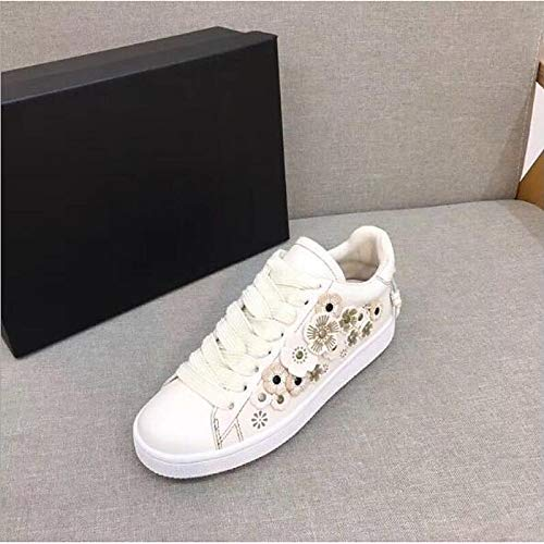 Chaussures Cuir Noir pour Talon Femmes à Blanc Confort Baskets Printemps Plat ZHZNVX en Black BwdqIxaAd