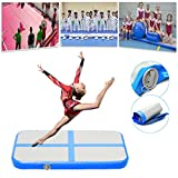 39x24x4inch Inflatable Gymnastics Cheerleading Air Track Floor Tumbling Gym Mat with Pump Blue