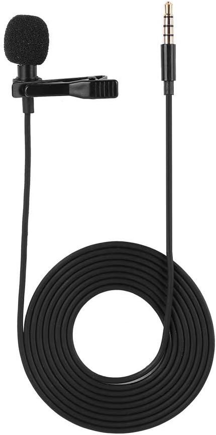 Micrófono de solapa con clip para manos libres, condensador omnidireccional, micrófono tipo lavalier para cámara DSLR, iPhone, Android, Sangsung, Sony, PC, grabadora, portátil, 3,5 mm