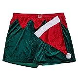 Cheers:30 Mens Velour Christmas Elf Holiday Boxer Shorts & Santa Hat Set