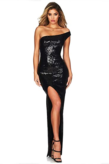 Morye Women S Sexy One Shoulder Split Sequin Bodycon Evening Party