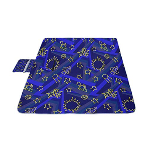 (MBVFD Star Spaceship Unidentified Flying Object Picnic Mat 57''(144cm) x79''(200cm) Picnic Blanket Beach Mat with Waterproof for Kids Picnic Beaches and Outdoor Folded Bag )