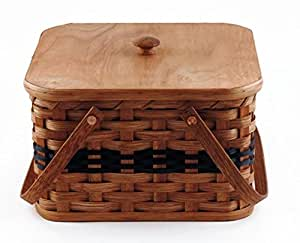 Amish Handmade Square Double Pie Basket w/Inside Tray, Lid, and Two Swinging Carrier Handles IN BLUE