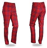 myglory77mall Mens Spandex Checker Check Pattern Plain Golf Pants trousers...