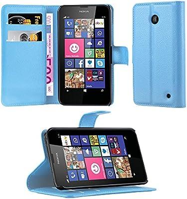 Cadorabo Carcasa para Nokia Lumia 630/635 Móvil En Pastel Azul Funda con Tarjetero y función Atril Case Cover Carcasa Funda Book Style Pastel de Color ...