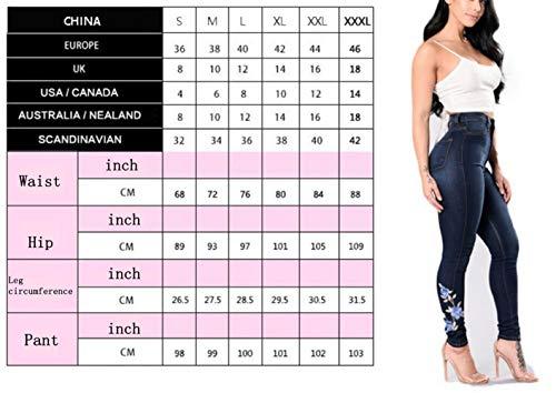 de de de Pantalones Las Yoga Blue Mezclilla Vaqueros Estampados Mujeres Florales qTCT704xn