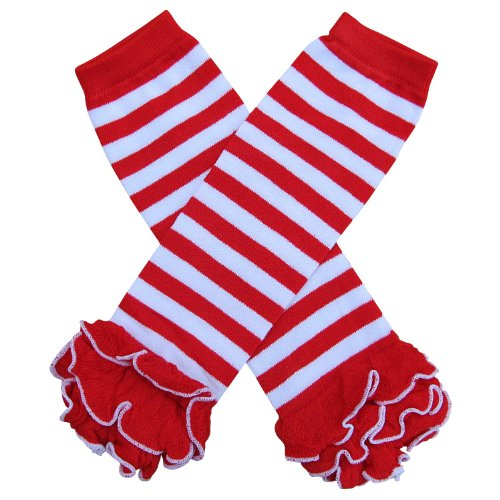 Christmas Holiday Winter Party Styles Leg Warmers - One Size - Baby, Toddler, Girl, Boy (Ruffle Bottom Red & White Stripe) (Stripe Babylegs White)
