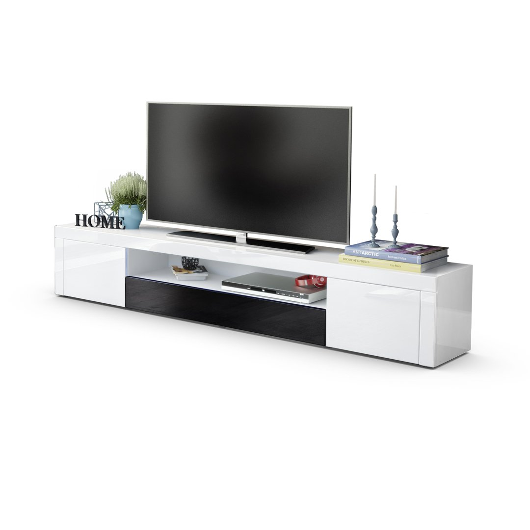 White High Gloss   Black High Gloss without LED lighting TV Unit Stand Santiago V2, Carcass in White High Gloss   Front in White High Gloss and Rough-sawn Oak with LED lighting