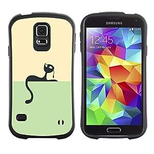 """Hypernova Slim Fit Dual Barniz Protector Caso Case Funda Para Samsung Galaxy S5 [Minimalista Gato y ratón juego""""]"""