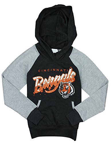 NFL Cincinnati Bengals Big Girls Youth Crafted Fleece Pullover Hoodie, Grey Cincinnati Bengals Youth Uniform