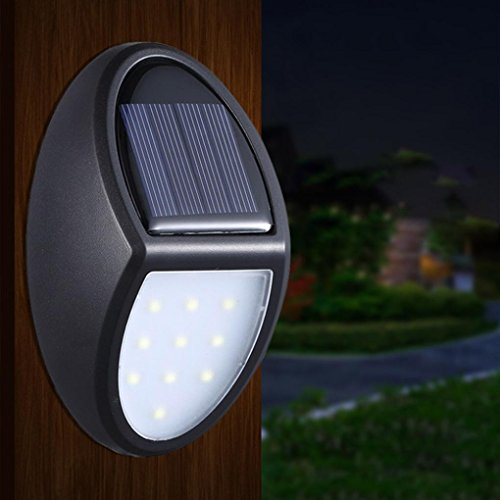- LiPing Solar New Power Waterproof Motion Sensor 10LED Outdoor Decorative Lights-Garden Light Gutter Fence Wall Bulb Lamp (A)