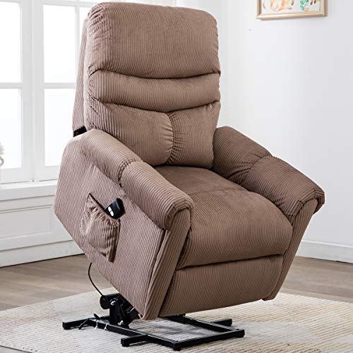 Bonzy Home Electric Power Lift Recliner Chair Sofa for Elderly, Living Room Chair with Overstuffed Design, Power Lift Chair with Safety Motion Reclining Mechanism, Beige
