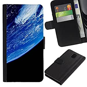 All Phone Most Case / Oferta Especial Cáscara Funda de cuero Monedero Cubierta de proteccion Caso / Wallet Case for Samsung Galaxy Note 3 III // Blue Planet Earth Closeup View Space Atmosphere
