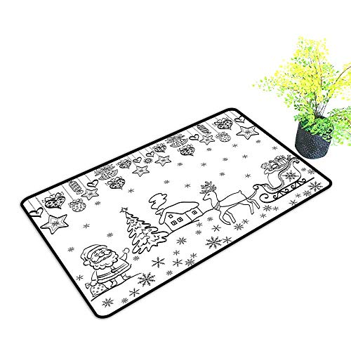 Zmstroy Modern Door mat Christmas Tree Ornaments with Santa Sleigh Rudolph Reindeer Toys Jingle Bells Image W31 xL47 Non-Slip Door mat pad Machine can be Washed Black and White ()