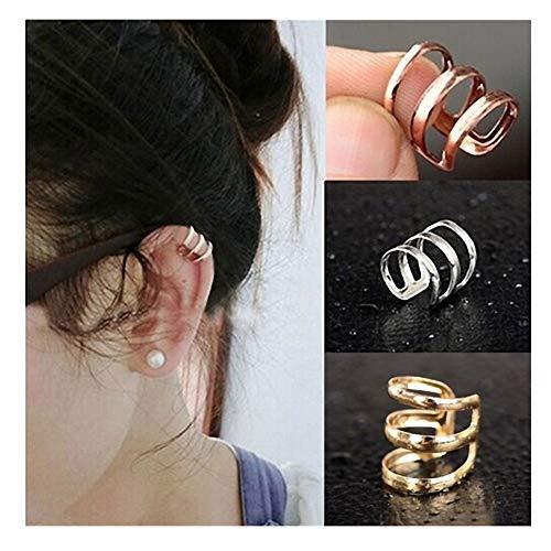 callm Fashion Hollow U-Shaped Ear Bone Clamp Punk Rock Ear Clip Cuff Wrap Earrings (Gold)